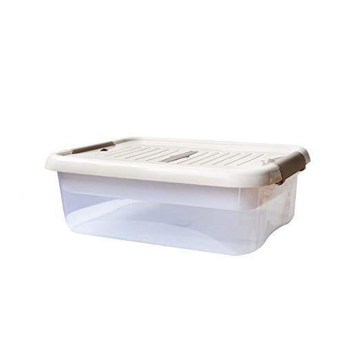 C-J-Xin Transparante Storage Box, kattenvoer toiletartikelen Boeken Storage Box Keuken Wardrobe Badkamer Storage Box goede afdichting Opslag & Organisatie (Color : Beige, Size : 47 * 34 * 16cm)