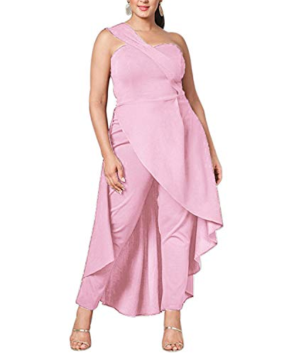 ABYOXI Damen One Shoulder Jumpsuit Lange Sommer Overall Kleider Hohe Taille Hosenanzug Romper S-2XL Rosa XL