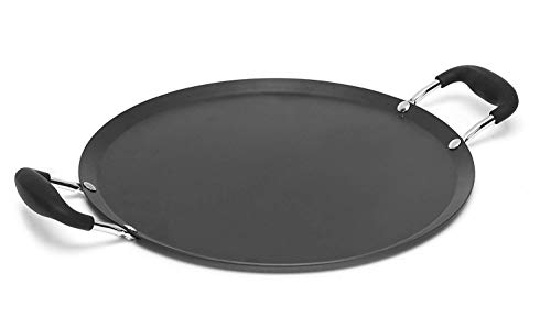 """IMUSA USA 11"""" Nonstick Carbon Steel Comal with Bakelite Handles, Inch, Black"""