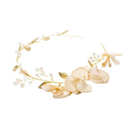 Flor de tela Diadema de perlas Hojas doradas Tocados de novia Accesorios...