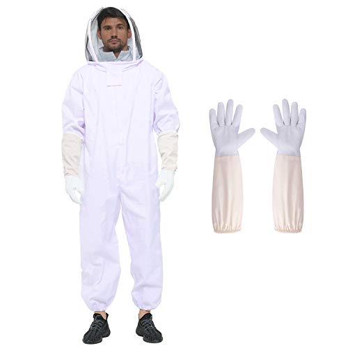Beekeeping Suit for Women/Men,XL Professional Beekeeping Jacket with Ventilated Veil Hood,Bee Suit with Gloves,Protection for Backyard Professional and Beginner Beekeepers