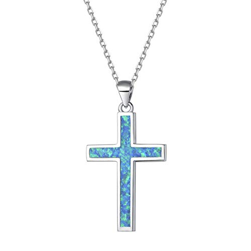 Opalmaster 925 Sterling Silver Pendant Necklace Blue Created Opal Danity Jewelry for Women Girls Easter