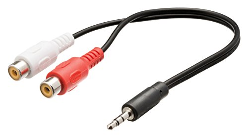 Valueline VLAP22250B02 adaptador de cable 3.5mm 2 x RCA Negro, Rojo, Blanco - Adaptador para cable (3.5mm, 2 x RCA, Macho/Hembra, 0,2 m, Negro, Rojo, Blanco)
