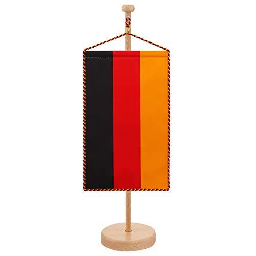 Vispronet® Tischbanner Deutschland Set ✓ Fahne & Ständer ✓ Kordel-Rand (Holz, Höhe 44 cm)
