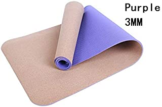 Yoga Mat Cork Sports Yoga Mat Cork Natural Rubber Yoga Mat TPE Fitness Non-Slip Exercise Pilates Workout Purple 1
