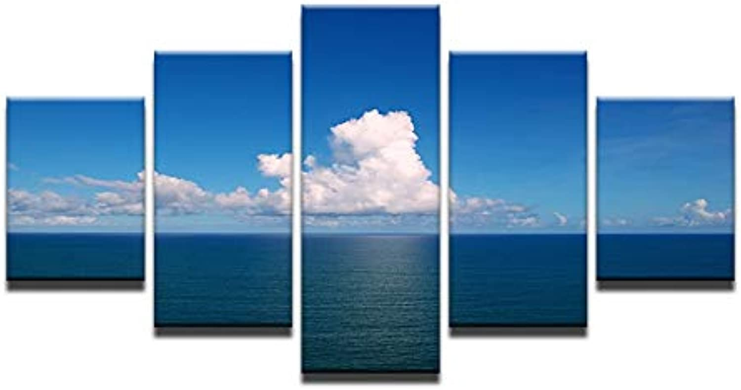 Home Decor Photo Wall Art HD Prints Canvas 5 Pieces bluee Sky White Clouds Sea Landscape Paintings Modular Posters Framework