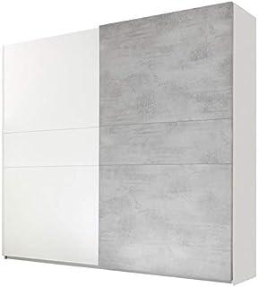 Tousmesmeubles Armoire 2 Portes coulissantes Blanc/Ciment - ANIECE n°2 - L 275 x l 64 x H 248 - Neuf