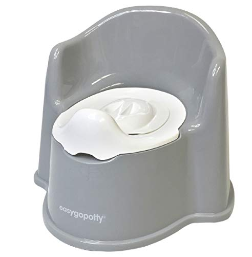 EasyGoProducts Potty Training Seat for Boys and Girls-Ergonomic Design and Anti-Splash Feature Toilet Trainer, Toddle Potty Chair–Patent Pending, Gray (EGP-SHO-014)