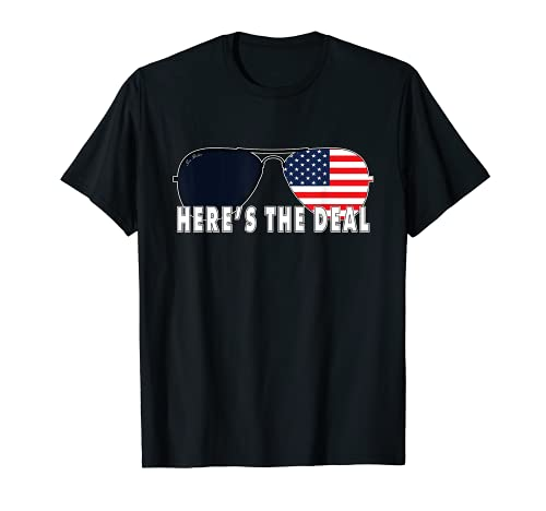 Biden Here's The Deal - Gafas de sol con cita divertida con la bandera americana Camiseta