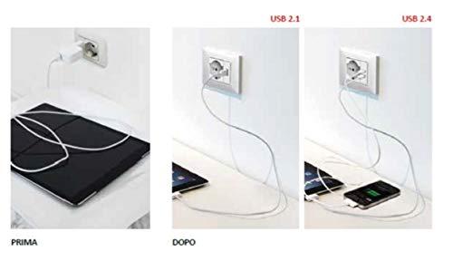 Toma USB 2.4/A a 2/salidas sobre m/ódulo individual compatible con Gewiss Chorus Blanca