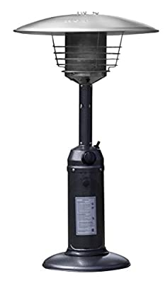Hiland HLDS032-C HLD032-C Portable Tab Top Patio Heater, 11,000 BTU, Use 1lb or 20Lb Propane Tank, Hammered Silver