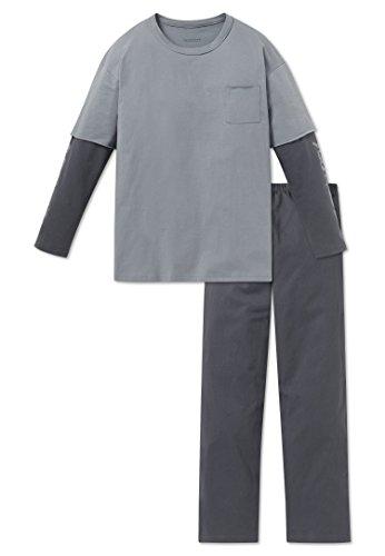 Schiesser Jungen Zweiteiliger Schlafanzug Anzug Lang, Grau (Graublau 209), 140 (Herstellergröße: XS)