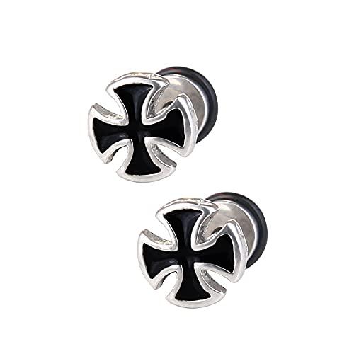 Anjing Pendientes de aro de acero de titanio de plata de ley de 2 piezas