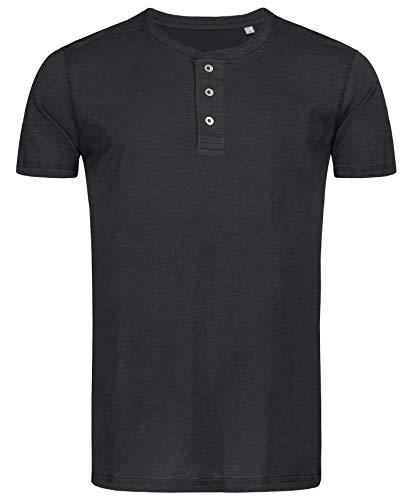 Stedman Original Premium Henley-T-Shirt mit Knöpfen für Herren; Aus Weichem Flamm-Garn (Slub-Garn), Black Opal, XL