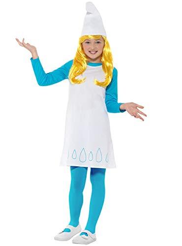 Funidelia | Disfraz de Pitufina Oficial para niña Talla 7-9 años ▶ The Smurfs, Dibujos Animados, Los Pitufos, Enanito - Azul