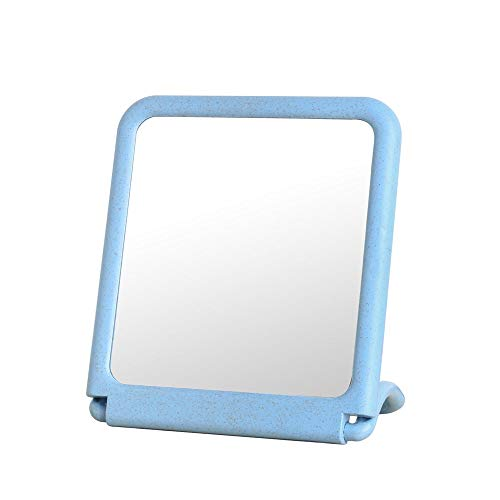 CZFSKCZ Specchio per Il Trucco Specchio di Moda Specchio da vanità Pieghevole Portatile, controsoffitto con Staffa, Grande Specchio Specchio tavola Specchio Vanity, Blu, 20 * 18 * 6 cm