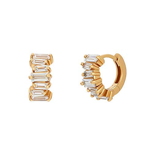 NOELANI Women's Creole Earrings 925 Silver Gold-Plated with Cubic Zirconia 'Baguette'