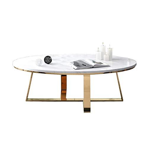 Salontafel in ovaal marmeren tafelblad, stevige metalen voet bijzettafeltje, voor hotel/villa/huis woonkamer marmeren tafel (80 × 50 × 45 cm)