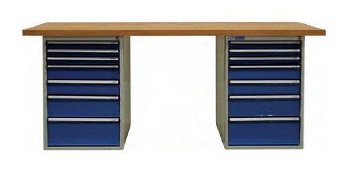 ADB Werkbank mit 2x Schubladenbox 7 Schubladen Arbeitsplatte 1500 o 2000 mm, Größe:2000 x 750 x 50 mm