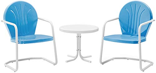 Crosley Furniture Griffith 3-Piece Metal Outdoor Conversation Set with Table and 2 Chairs - Sky Blue