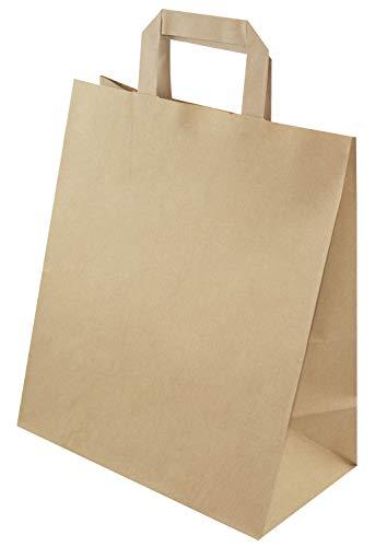 Bolsas de papel con asa plana, 260 x 140 x 300 mm, color marrón, 50 unidades