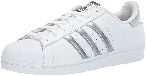 adidas Originals Damen Superstar Turnschuh, Weiß/Silber Metallic/Kern Schwarz
