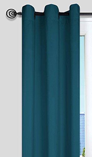 Lovely Casa R64689027 Nelson Rideau Œillets, Bleu Vert Canard, 240 x 135 cm