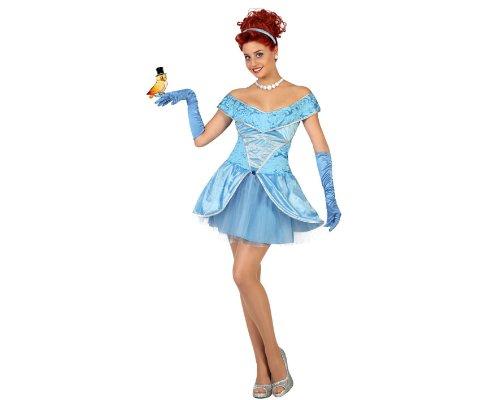 Atosa- Disfraz corto princesa de cuento, Color azul, M-L (22886)