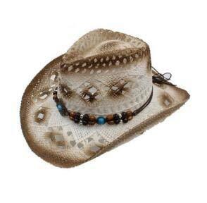 HKHJN 2017 Zomer, uniseks, hol, punk stro, cowboy hoed met parels, touw, voor mannen, brede krultang, caps voor vrouwen, Westelijke cowgirl zonnehoed
