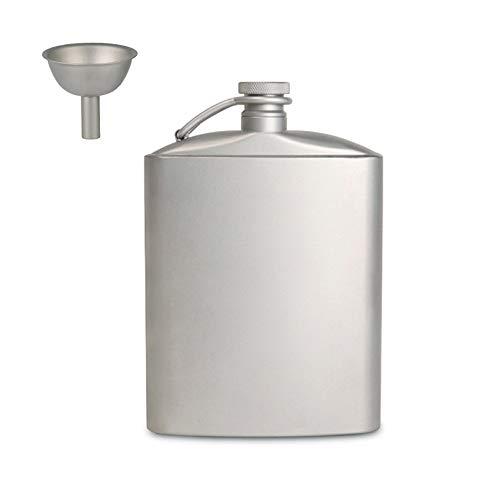 XCCV Petaca de titanio con embudo, 200 ml/260 ml, botella de whisky de alcohol, ligera mini bandera de vino para escalada al aire libre, senderismo, camping