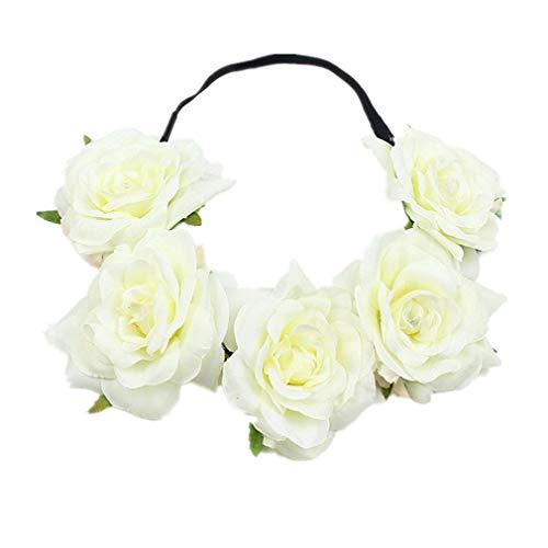 YAZILIND boda novia flor accede al pelo Accessorie estiramiento diadema mujeres tocado...
