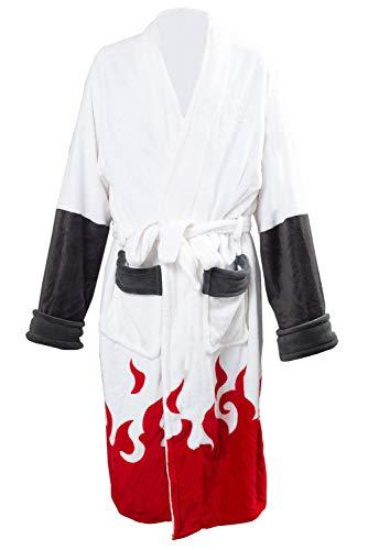 Generic Namikaze Minato Akatsuki Kimono pour homme Robe d'hiver décontractée Col montant Écharpe SPA Pyjama Blanc