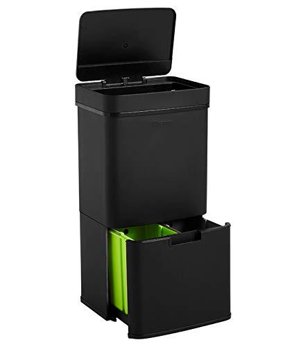 Homra Nexo Negro - Cubo de basura y reciclaje grande con sensor...