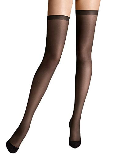 Wolford Damen Matt Fein Strumpfhose Fatal 15 seamless Stay - Up 28045, 15 DEN, Gr. Medium, Schwarz (Black 7005)