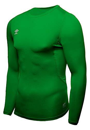 UMBRO Core LS Crew Baselayer Camiseta Térmica, Hombre, Verde, L