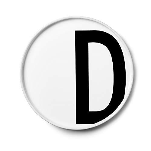 Design Letters Assiette Personnalisée en Blanc Porcelaine Fine de A-Z - D – Assiette Decorative, Idéal décorer, comme Cadeau Personnel, ou pour Les Repas, Compatible Lave-Vaisselle, D: 20cm