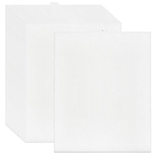 BUYGOO 20 Pack 7 Count Clear Plastic Mesh Canvas Sheets for Embroidery, Acrylic Yarn Crafting, Knit and Crochet Projects - 10.5'' x 13.5''