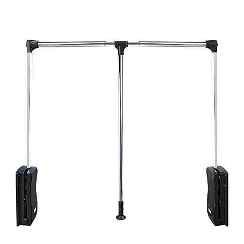 TAYNBYLN Wardrobe Lift Adjustable Clothes Rail, Pull-Down-Dämpfung Hydraulische Kleiderstange,Dämpfungspuffer, Automatische Rückkehr,Verstellbare Breite, 3 Größen,600~830MM