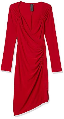 Norma Kamali Damen Long Sleeve Sweetheart Side Drape Dress to Knee Kleid, rot, 66