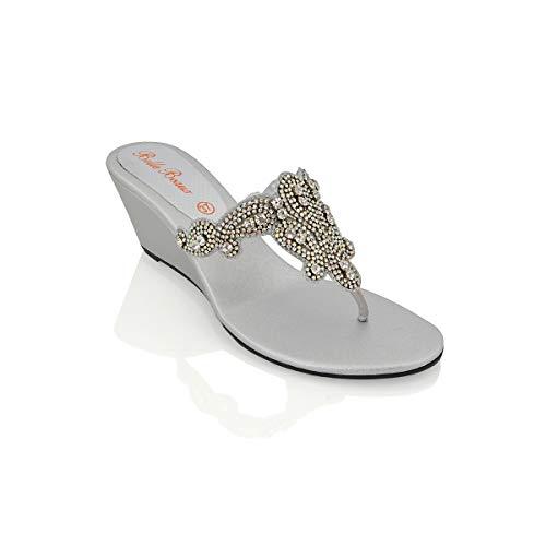 ESSEX GLAM Sandalo Donna Argento Infradito Tacco a Cuneo Finto Diamante Elegante Festa EU 36