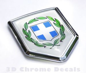 Greece Flag Greek Emblem Chrome Car Decal Bike Sticker Badge Crest
