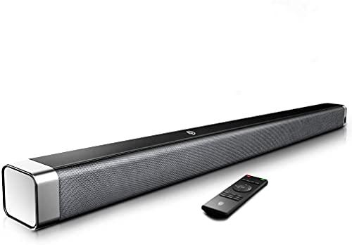 Bomaker, Barra de Sonido 2.0 Canales, Potencia 120dB, Tecnología DSP Subwoofer Incorporado + Bluetooth para TV, Soporte Óptico, 3,5 mm Audio AUX, USB, Diseñado para Cine en Casa, ODINE I, Negro-Gris