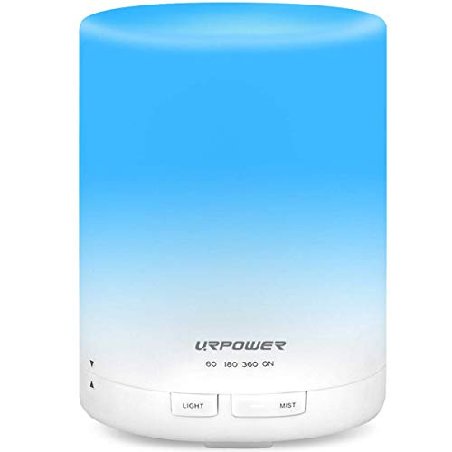 URPOWER 2nd Generation 300ml Aroma Essential Oil Diffuser Ultrasonic Air Humidifier with AUTO Shut Off and 6-7 Hours Continuous Diffusing - 7 Color Changing Lights and 4 Timer Settings
