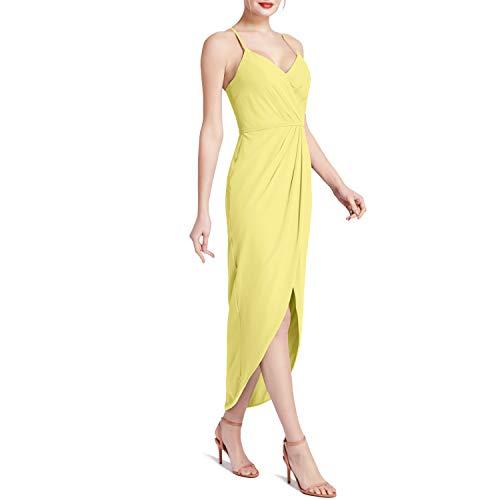 MACloth Women Hi Lo Sweetheart Wrap Causal Party Cocktail Dresses Semi-Formal (36, Lemon Yellow)