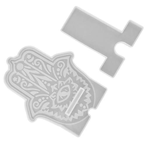 EXCEART 1 Juego de Moldes de Soporte para Teléfono Móvil Silicona Ojo de Diablo Molde de Mano Hamsa Moldes de Fundición Epoxi para Manualidades Teléfono Soporte Blanco