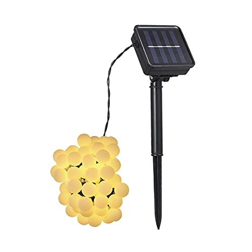 Ksodgun Solar Powered 50 Leds String Light IP44 Resistente al Agua Colgante para Exteriores Luces de Hadas Decoración de la casa Bola Bola Lámpara para Fiesta en el día Salón Jardín Patio Blanco