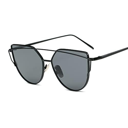 YWSZY Gafas de Sol Gafas de Sol de Metal Damas de Lujo Espejo de Lujo Cara Rosa Oro Retro Moda Gafas de Sol Damas Gafas (Lenses Color : Black Gray)