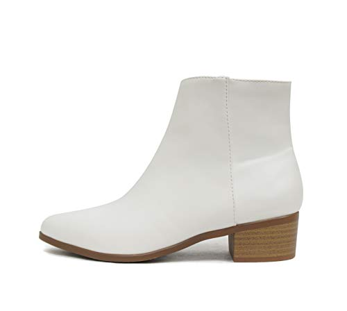 City Classified Kimbo ~ Women Stacked Low Block Heel Pointy Toe Fashion Ankle Bootie W/Side Zipper (White, Numeric_10)