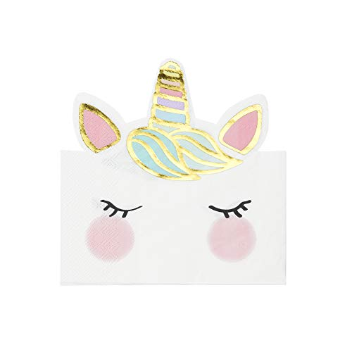 Talking Tables UNICORN-NAP-FACE Einhorn geformte Serviette 16Pk, Paper