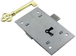 Steel Flush Mount Lock w/Skeleton Key for Grandfather Clock, Cabinet Door or Dresser Drawer | L-2